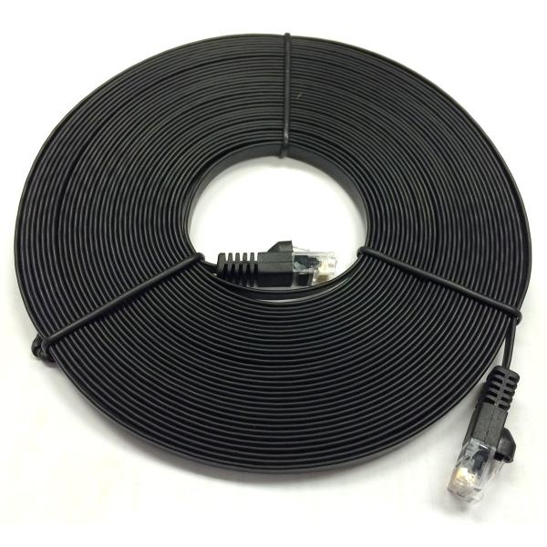 1' Flat CAT6 UTP Network Cable - Black