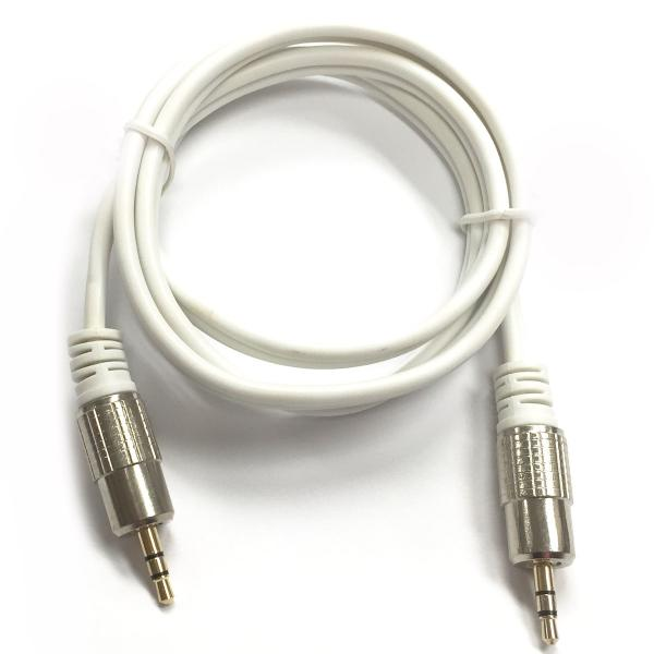 1' Shielded Heavy Duty 3.5mm Stereo Cable (Male/Male) - White