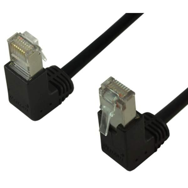1' CAT6 (500MHz) STP Shielded Network Cable - Down-Up Angled Connectors - Black
