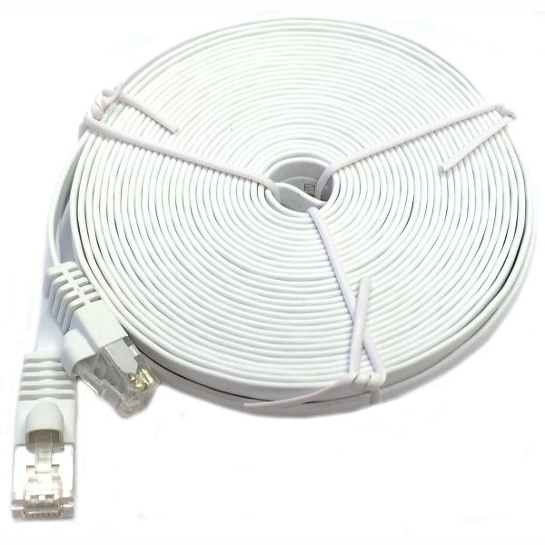 1' Flat CAT6 UTP Network Cable - White